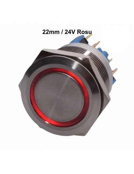 Push Buton 22mm / 24V Lumina Rosie